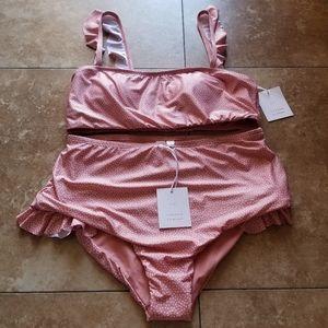 NWT Lauren conrad LC 2pc bikini high waist dot  L